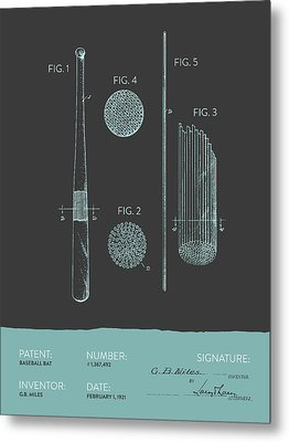 Baseball Bat Patent From 1921 - Gray Blue Metal Print by Aged Pixel