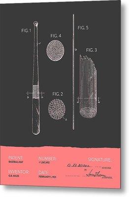 Baseball Bat Patent From 1921 - Gray Salmon Metal Print by Aged Pixel
