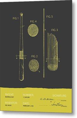 Baseball Bat Patent From 1921 - Gray Yellow Metal Print by Aged Pixel