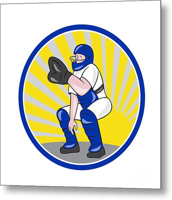 Baseball Catcher Catching Side Circle Metal Print by Aloysius Patrimonio