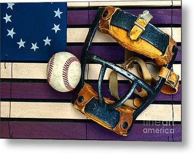 Baseball Catchers Mask Vintage On American Flag Metal Print by Paul Ward