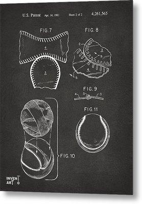 Baseball Construction Patent 2 - Gray Metal Print by Nikki Marie Smith