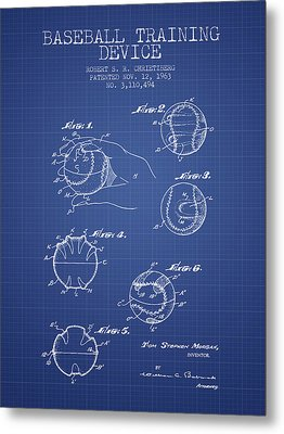 Baseball Cover Patent From 1963- Blueprint Metal Print by Aged Pixel