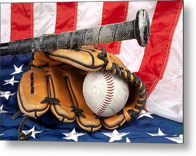 Baseball Equipment On American Flag Metal Print by Joe Belanger