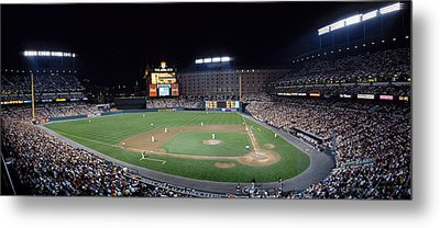 Baseball Game Camden Yards Baltimore Md Metal Print by Panoramic Images