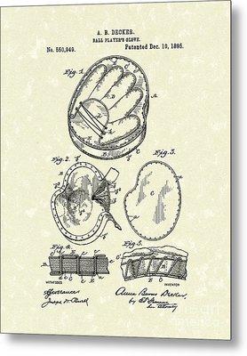 Baseball Glove 1895 Patent Art Metal Print by Prior Art Design