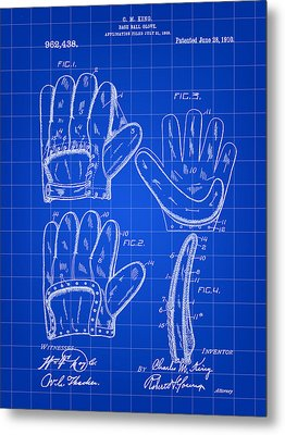 Baseball Glove Patent 1909 - Blue Metal Print by Stephen Younts