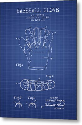 Baseball Glove Patent From 1922 - Blueprint Metal Print by Aged Pixel