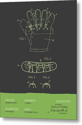 Baseball Glove Patent From 1922 - Gray Green Metal Print by Aged Pixel