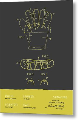 Baseball Glove Patent From 1922 - Gray Yellow Metal Print by Aged Pixel