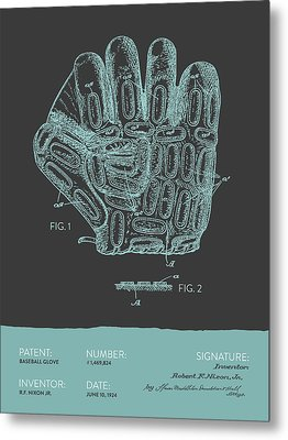 Baseball Glove Patent From 1924 - Gray Blue Metal Print by Aged Pixel