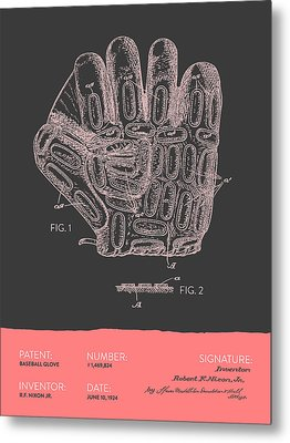Baseball Glove Patent From 1924 - Gray Salmon Metal Print by Aged Pixel
