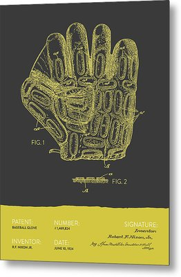 Baseball Glove Patent From 1924 - Gray Yellow Metal Print by Aged Pixel