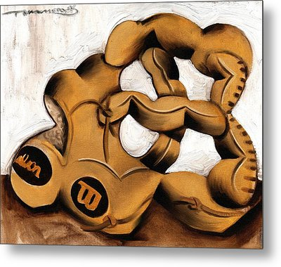 Abstract Baseball Glove Art Print Metal Print by Tommervik