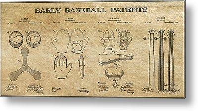Baseball History 3 Patent Art Metal Print by Daniel Hagerman