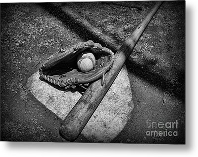 Baseball Home Plate In Black And White Metal Print by Paul Ward