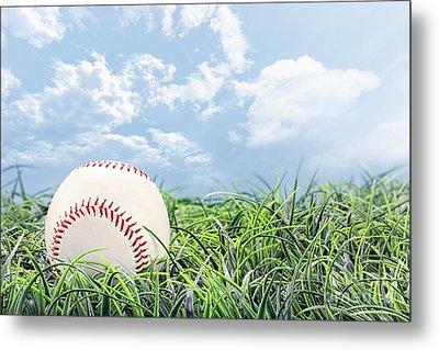 Baseball In Grass Metal Print by Stephanie Frey