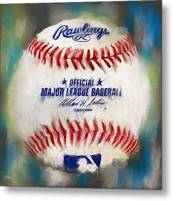 Baseball Iv Metal Print by Lourry Legarde