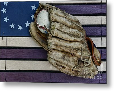 Baseball Mitt On American Flag Folk Art Metal Print by Paul Ward