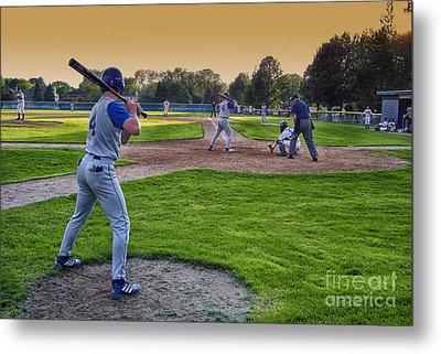 Baseball On Deck Circle Metal Print by Thomas Woolworth