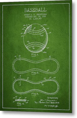 Baseball Patent Drawing From 1928 Metal Print by Aged Pixel