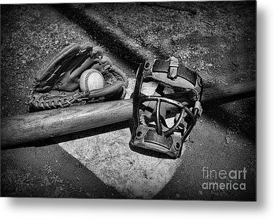 Baseball Play Ball In Black And White Metal Print by Paul Ward