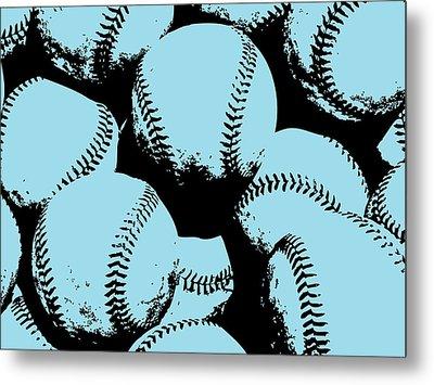 Baseball Pop Art Blue Metal Print by Flo Karp