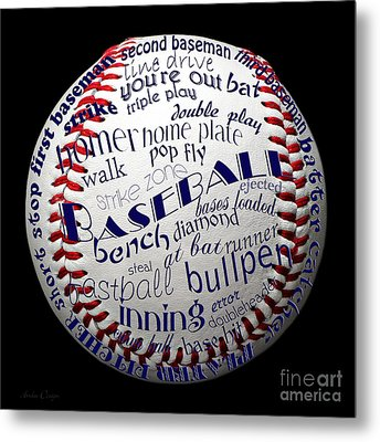 Baseball Terms Typography 1 Metal Print by Andee Design