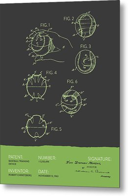 Baseball Training Device Patent From 1963 - Gray Green Metal Print by Aged Pixel