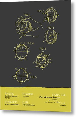 Baseball Training Device Patent From 1963 - Gray Yellow Metal Print by Aged Pixel