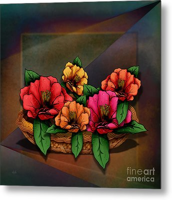 Basket Of Hibiscus Flowers Metal Print by Bedros Awak