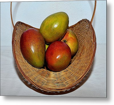 Basket Of Mangoes Metal Print by Samuel James