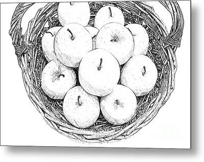 Basket With Apples Sketch Metal Print by Ezeepics