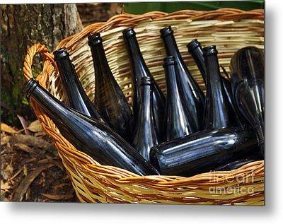 Basket With Bottles Metal Print by Carlos Caetano