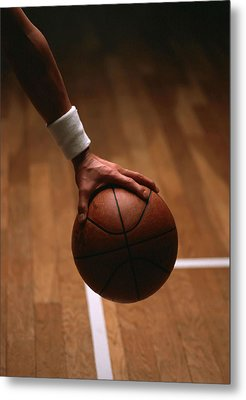 Basketball Ball In Male Hands Metal Print by Lanjee Chee