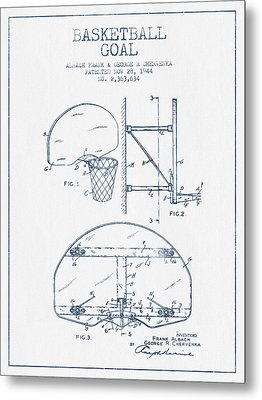 Basketball Goal Patent From 1944 - Blue Ink Metal Print by Aged Pixel