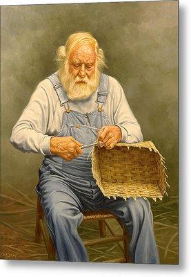 Basketmaker  In Oil Metal Print by Paul Krapf