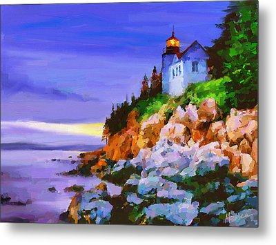 Bass Harbor Head Light At Sunset Metal Print by Marina Likholat