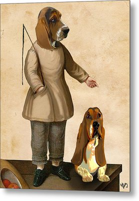 Basset Hounds Two Basset Hounds Metal Print by Kelly McLaughlan