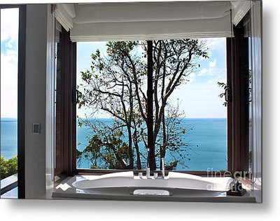Bathroom With A View Metal Print by Kaye Menner