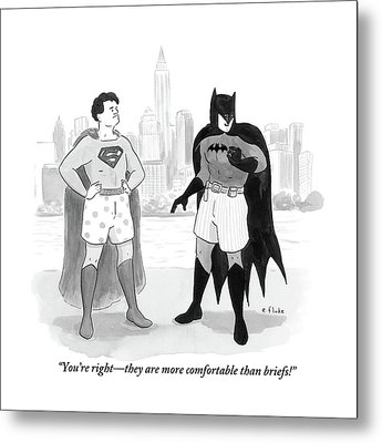 Batman And Superman Stand In Boxers Metal Print by Emily Flake