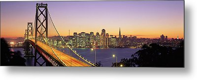 Bay Bridge At Night, San Francisco Metal Print by Panoramic Images