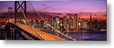 Bay Bridge Illuminated At Night, San Metal Print by Panoramic Images