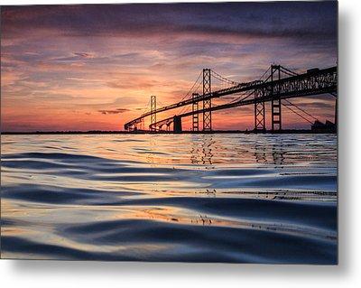 Bay Bridge Silk Metal Print by Jennifer Casey