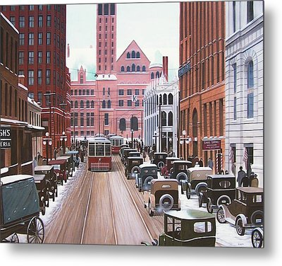 Bay Street Christmas Eve 1924 Metal Print by Kenneth M  Kirsch