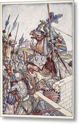 Bayard Defends The Bridge, Illustration Metal Print by Herbert Cole