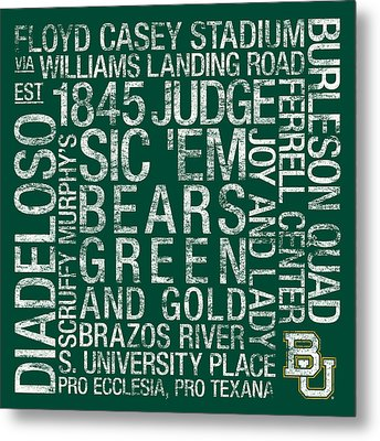 Baylor College Colors Subway Art Metal Print by Replay Photos