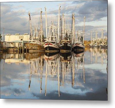 Bayou Labatre' Shrimp Boat Reflections 22 Metal Print by Jay Blackburn