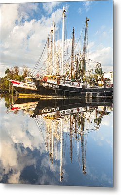 Bayou Labatre' Shrimp Boat Reflections 35 Metal Print by Jay Blackburn