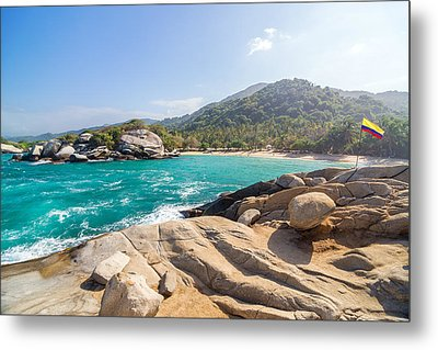 Beach And Colombian Flag Metal Print by Jess Kraft